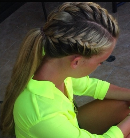 Sporty Hairdo A French Braid On Both Sides And The Top Pulled In Newest Braided Running Hairstyles (View 9 of 15)