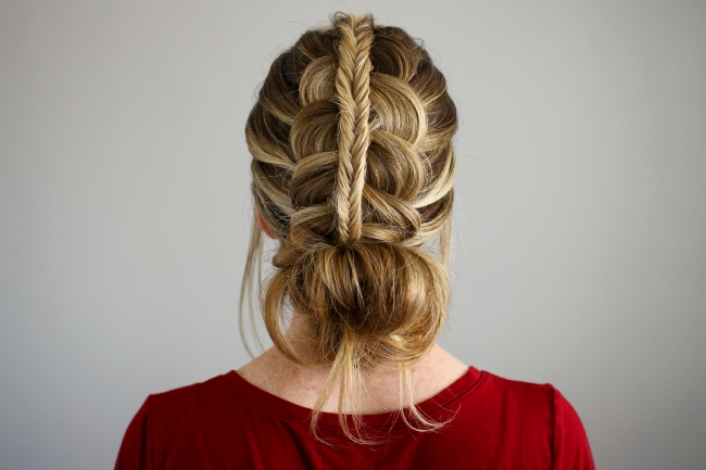 Stacked Fishtail + Dutch Braid Messy Bun In Most Recent Messy Flipped Braid And Bun Hairstyles (View 4 of 15)