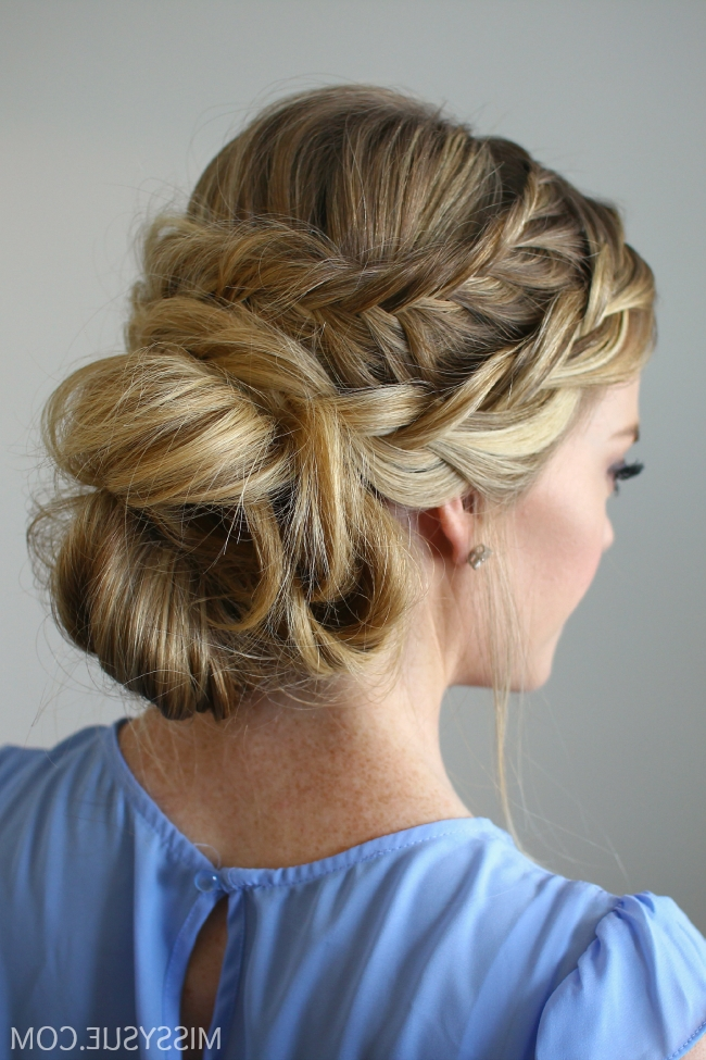 Stacked Fishtail French Braid Updo Regarding Most Up To Date French Braid Crown And Bun Updo (View 14 of 15)