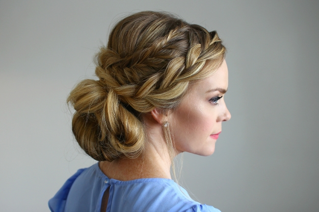 Stacked Fishtail French Braid Updo With Most Recent French Braids Crown And Side Fishtail (View 3 of 15)