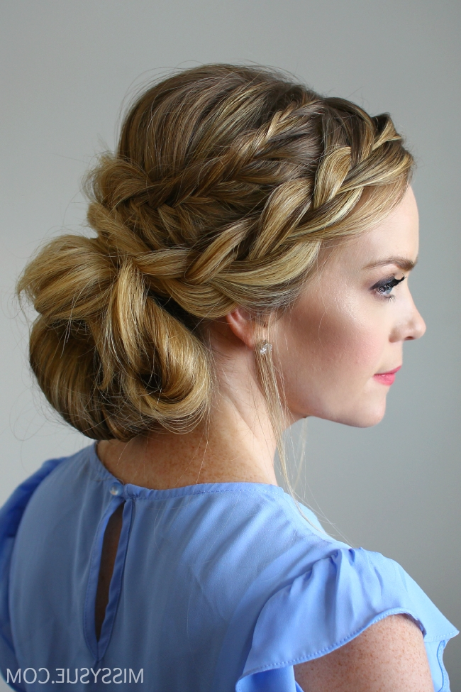 Stacked Fishtail French Braid Updo Within 2018 French Braid Crown And Bun Updo (View 7 of 15)