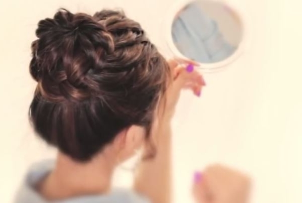 Stepstep Tutorial For Starburst Braid Bun Hairstyle Within Best And Newest Bun And Braid Hairstyles (View 11 of 15)