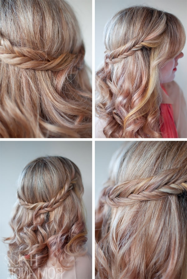 Stylenoted | Hair Romance 30 Braids 30 Days 9 Fishtail Braid Half Crown Regarding Latest Braided Crown With Loose Curls (View 14 of 15)