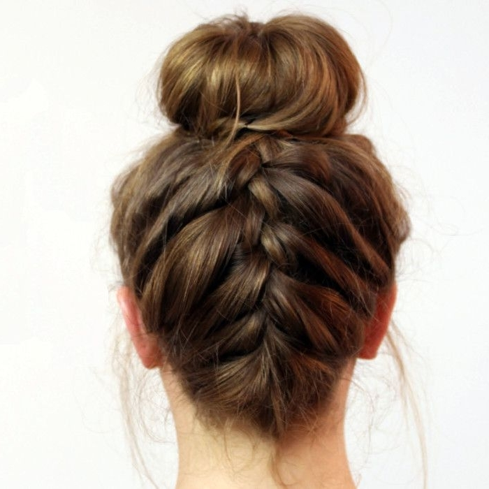 Summer Hairstyles Easy Updos   Beauty   Pinterest   French Braid Intended For Most Popular Upside Down Braids Into Messy Bun (View 8 of 15)