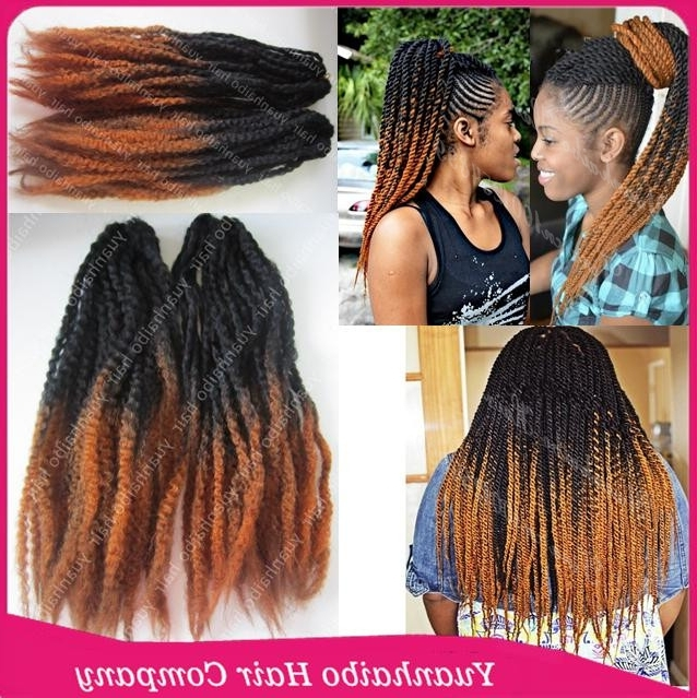 Super Quality! 20Inch Fold Ombre Kinky Twist Braiding Long Synthetic With Latest Two Extra Long Braids (View 13 of 15)