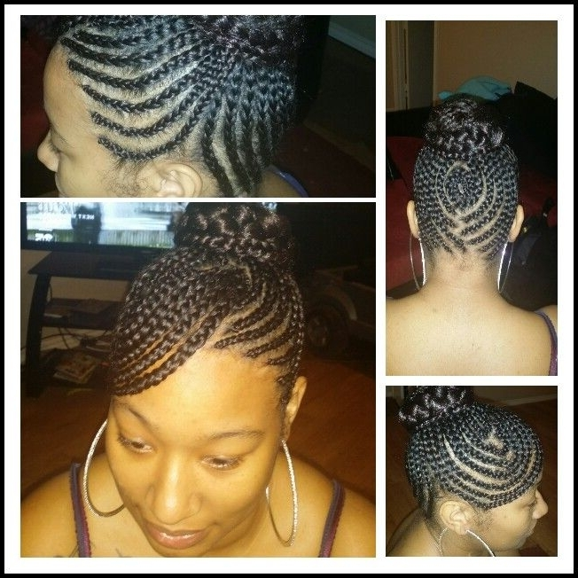 Swoop Bang Updo With Braided Bun | Cute Cornrows | Pinterest | Bangs Throughout Newest Cornrows Hairstyles With Swoop (View 11 of 15)