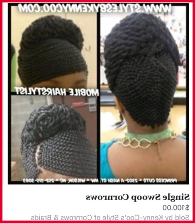 Swoop Braids Hairstyles 237780 A Cornrow Styleskenny Coo Located Intended For Latest Cornrows Hairstyles With Swoop (View 6 of 15)