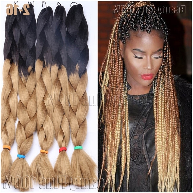 "Synthetic Braiding Hair 24"" Box Braids 100G Hair Extension Jumbo Regarding 2018 Multicolored Jumbo Braid Hairstyles (View 2 of 15)"