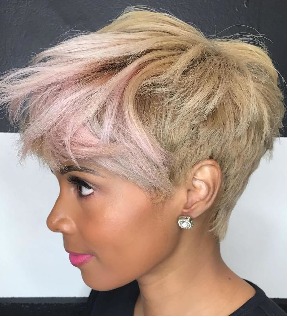 Tapered Pixie Hairstyles For Afro American Women – Hairstyles Intended For 2018 Messy Tapered Pixie Haircuts (View 6 of 15)