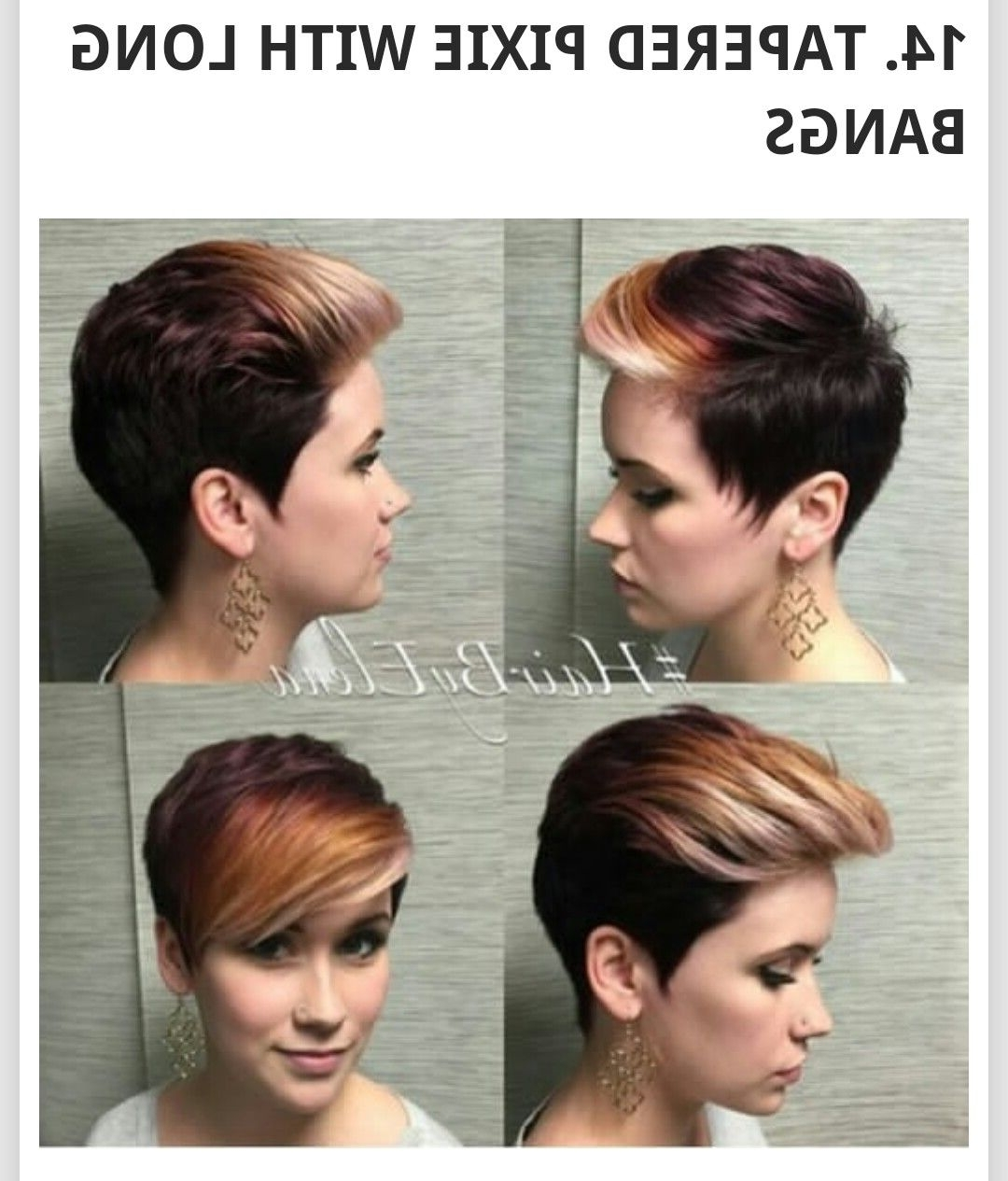 Tapered Pixie With Long Bangs! | Hairstyle And Cuts | Pinterest Throughout Most Recently Tapered Pixie Haircuts With Long Bangs (View 11 of 15)