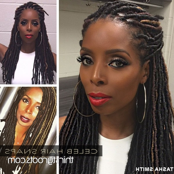Tasha Smith's Faux Locs Braids Hairstyle For Most Popular Braided Cornrows Loc Hairstyles For Women (View 5 of 15)