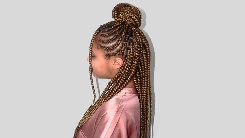 The Coolest Box Braids Hairstyles You Need To Try – The Trend Spotter Inside Most Popular Half Cornrows Half Individual Braids (View 13 of 15)