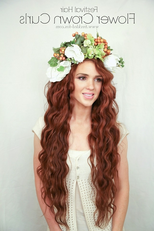 The Freckled Fox: Festival Hair Week: Flower Crown Curls With Current Crimped Crown Braids (View 14 of 15)