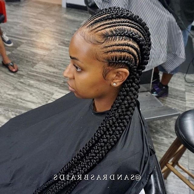 These #cornrows Are So Clean @sandrasbraids ? | #houstonbraider With Recent Thick And Thin Asymmetrical Feed In Braids (View 15 of 15)