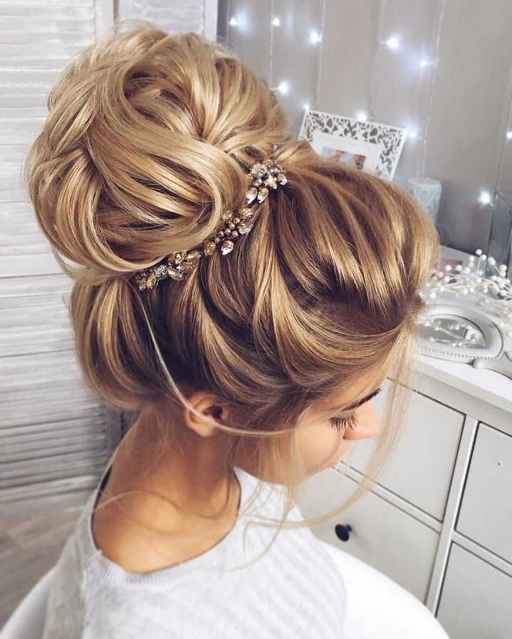 This Beautiful High Bun Wedding Hairstyle Perfect For Any Wedding With Most Popular Large High Bun With A Headband (View 6 of 15)