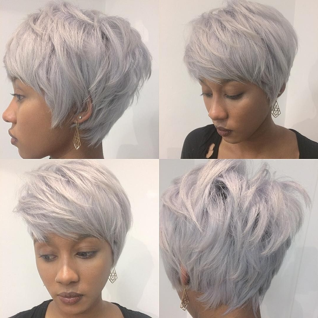 This Chic Stacked Silver Pixie With Messy Texture And Feathered In Newest Platinum Blonde Disheveled Pixie Haircuts (View 14 of 15)
