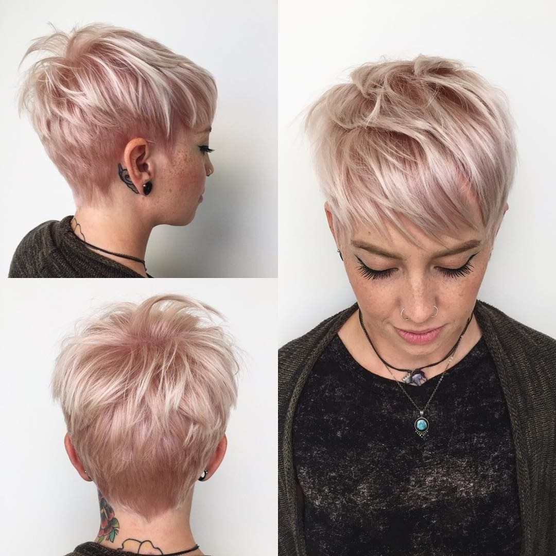 This Messy Platinum Textured Pixie With Fringe Bangs And Soft Pink With Regard To Most Recently Platinum Blonde Disheveled Pixie Haircuts (View 4 of 15)