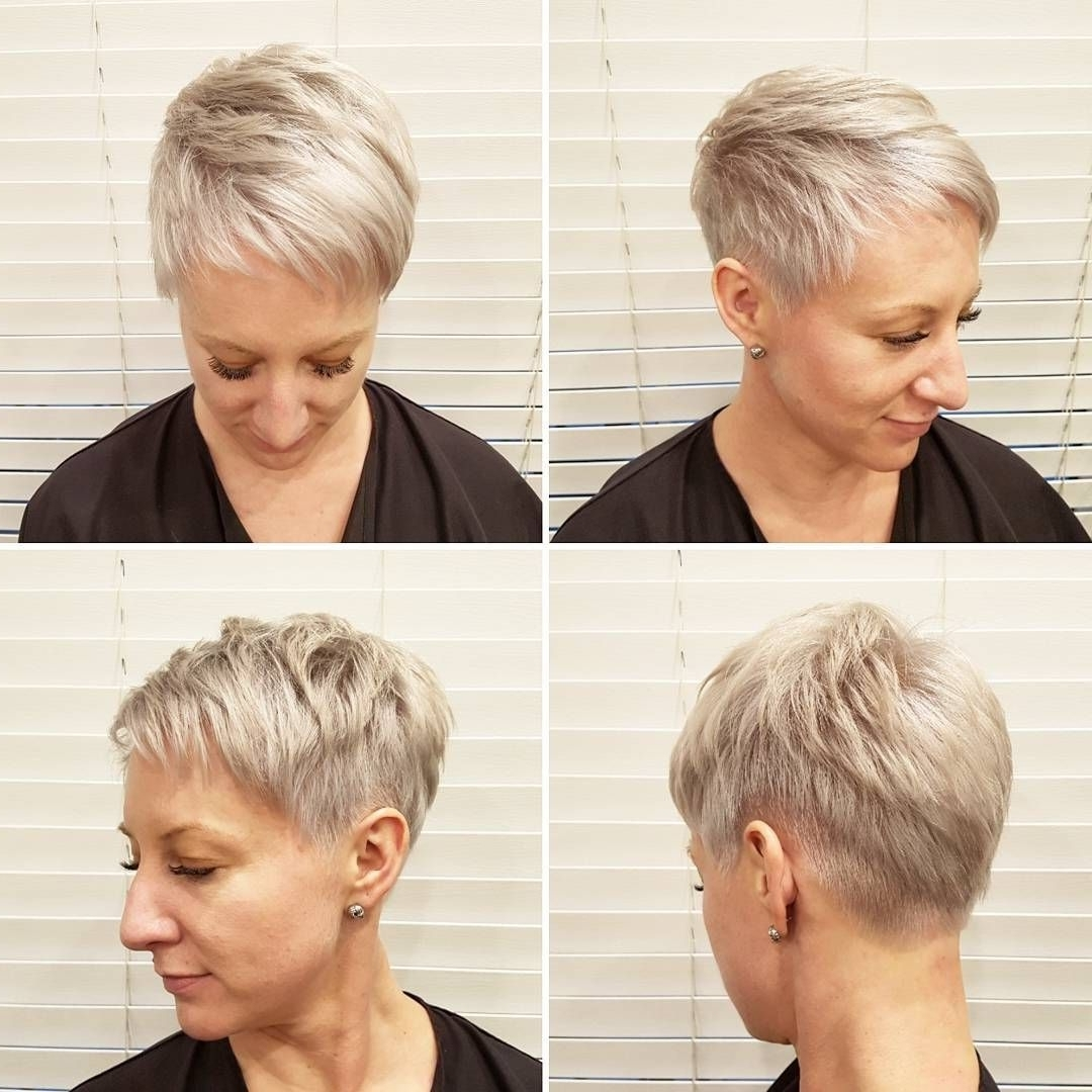 This Platinum Textured Pixie With Taper And Asymmetric Bangs Is A For Most Current Platinum Blonde Disheveled Pixie Haircuts (View 12 of 15)