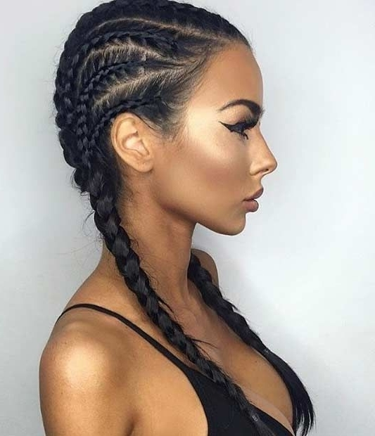 Tight Braids | Braids | Pinterest | Tight Braids, Hair Style And With Regard To Newest Braided Hairstyles For Dark Hair (View 1 of 15)
