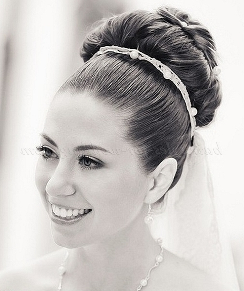 Top Bun Wedding Hairstyles – Large Bun For Brides | Hairstyles For Intended For Most Current Large High Bun With A Headband (View 13 of 15)