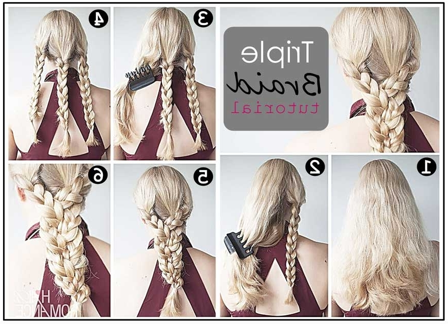 Triple Braid Ponytail Hairstyle Tutorial – Casual – Careforhair.co (View 9 of 15)
