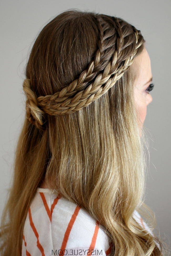 Triple Lace Braided Rosette Pertaining To Current Triple Braid Hairstyles (View 4 of 15)