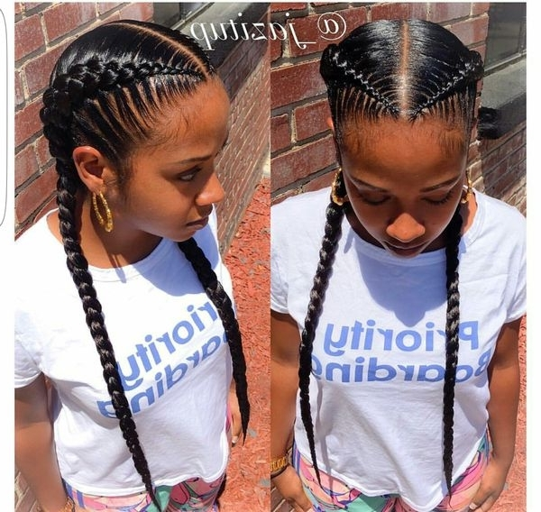 Two Braids Hairstyles | African American Hairstyling Within Most Recently Two French Braid Hairstyles With Flower (View 4 of 15)