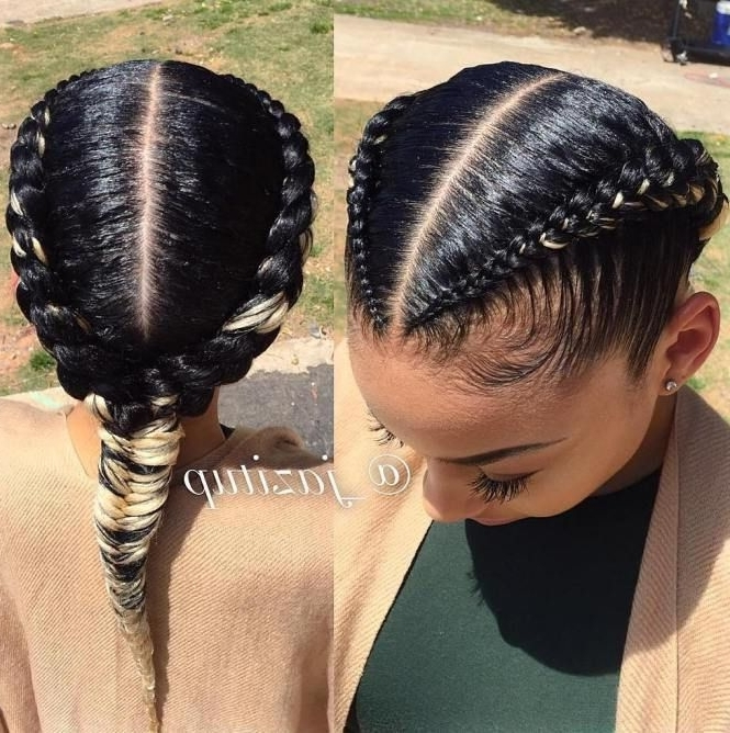 Two Braids Into One Black Hairstyle | Protective Styles | Pinterest Within Newest Two Braids Into One (View 2 of 15)