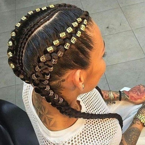 Two Braids With Numerous Gold Beads | Braids | Pinterest | Ghana Within Recent Super Long Dark Braids With Cuffs (View 14 of 15)