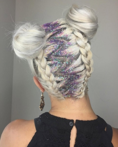 Two Buns Hairstyle: 19 Ways To Wear Double Buns – Thefashionspot With Recent Twin Braid Updo Hairstyles (View 8 of 15)