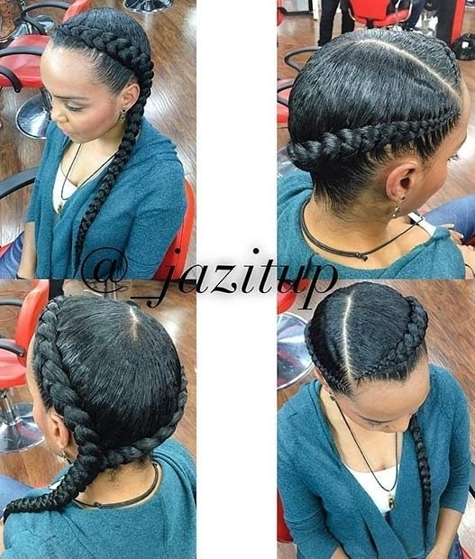 Two Cornrow Braids Hairstyles Sense Regarding Most Popular Two Cornrows Hairstyles (View 4 of 15)