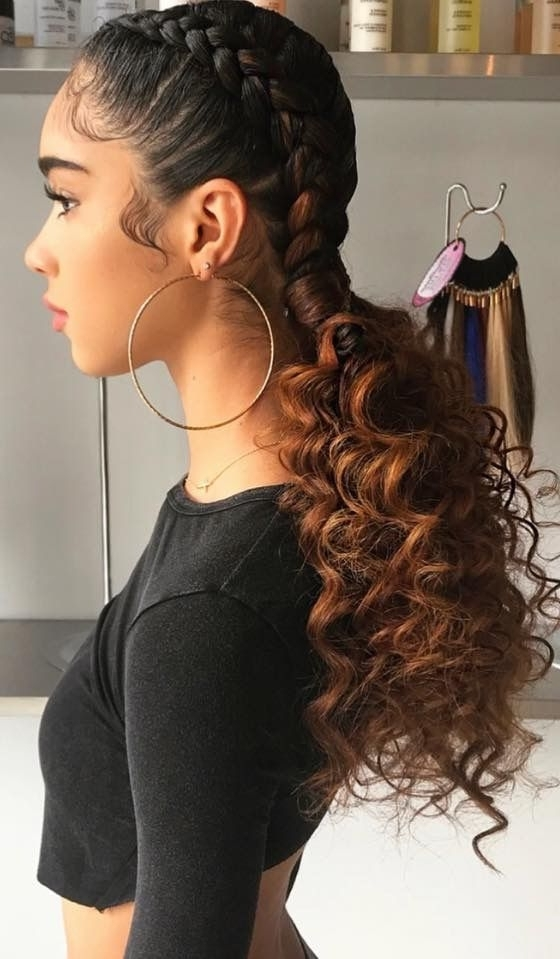 Two Dutch Braids To Curly Ponytails | Hair Skin And Nails Throughout Latest Asymmetrical Braids With Curly Pony (View 4 of 15)