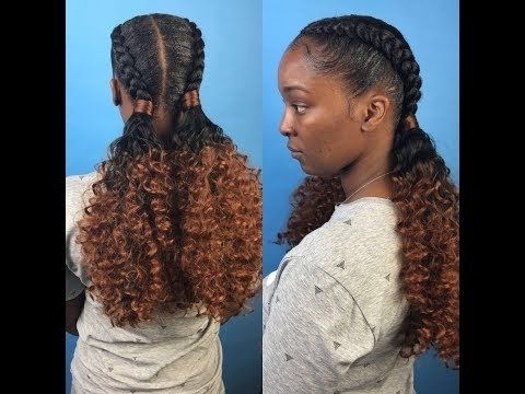 Two Feed In Braids With Curly Ponytails – Youtube | Hairstyles For Recent Asymmetrical Braids With Curly Pony (View 12 of 15)