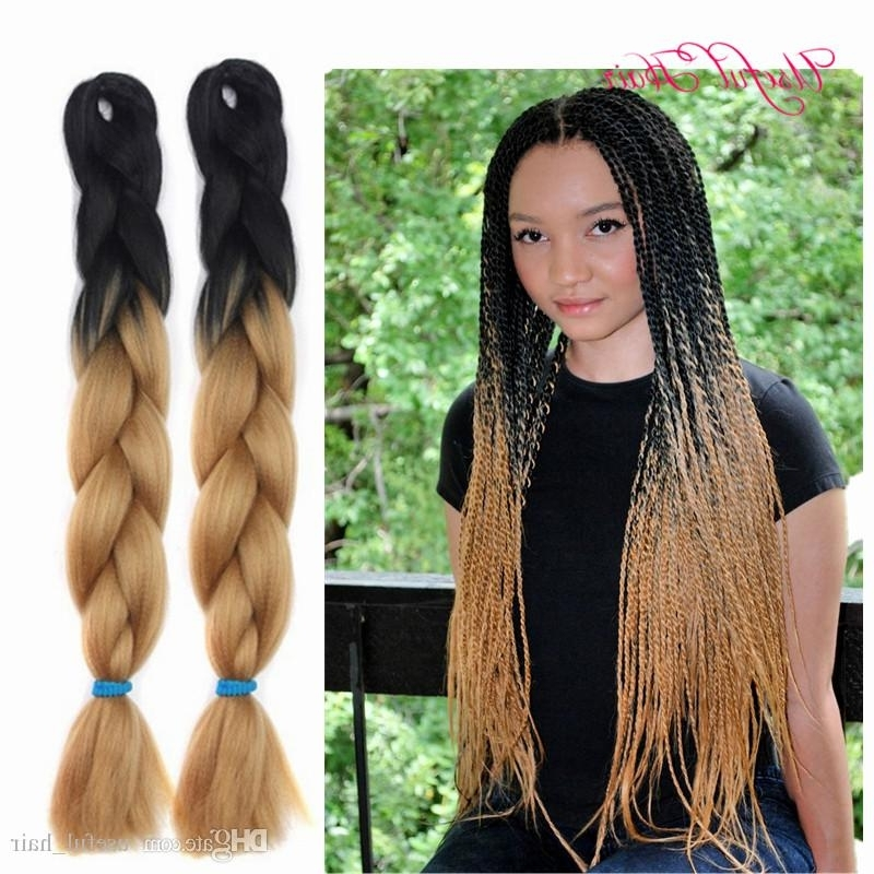 Two Tone Black Brown Jumbo Braids Tresse Cheveux 24Inch Jumbo Regarding Most Popular Two Tone Braided Pony Hairstyles (View 13 of 15)
