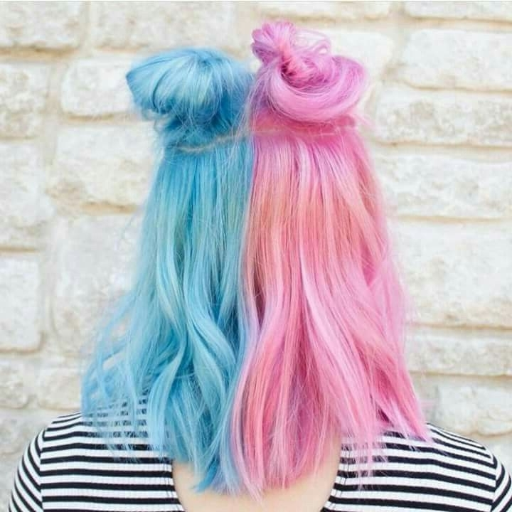 Two Tone Pastel Pink Pastel Blue Cotton Candy Buns Half Up Half Down Pertaining To Recent Cotton Candy Updo Hairstyles (View 6 of 15)