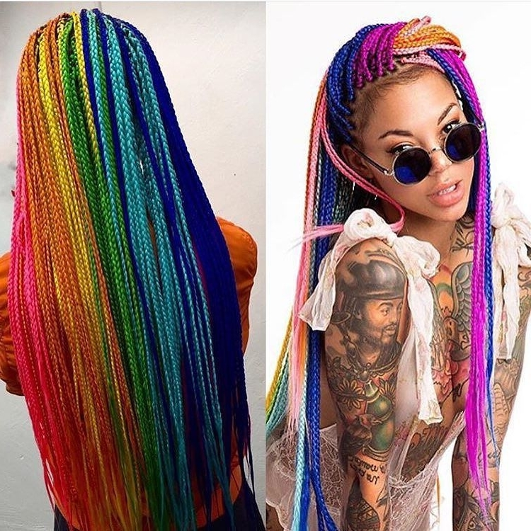 Unqiuechantee11 … | 2 Tones | Pinte… Throughout Newest Extra Long Blue Rainbow Braids Hairstyles (View 15 of 15)