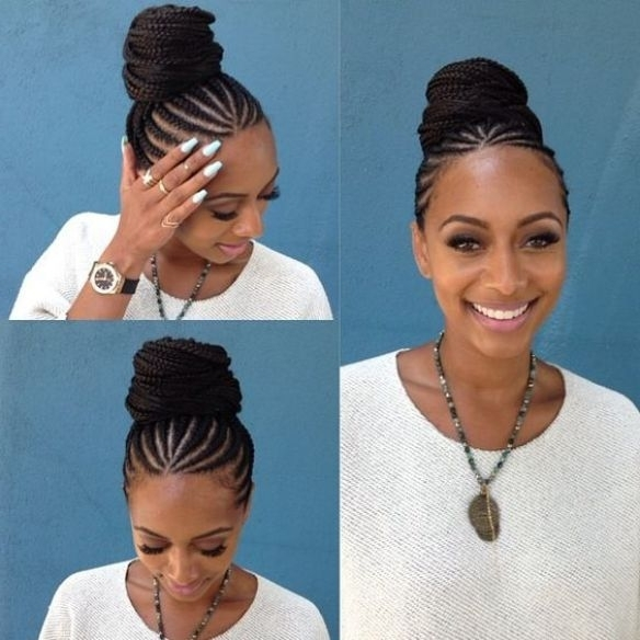 Updo Rolling Bun Cornrow Braids | Hairstyles | Pinterest | Cornrow Intended For Latest Cornrows Hairstyles With Buns (View 9 of 15)