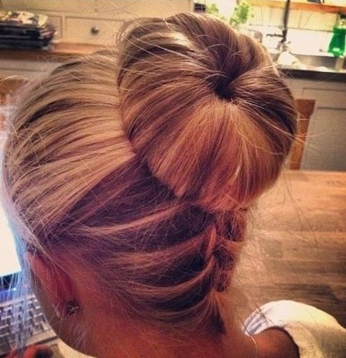 Upside Down Braid Bun Hairstyle – Popular Haircuts For Best And Newest Bun Braided Hairstyles (View 11 of 15)