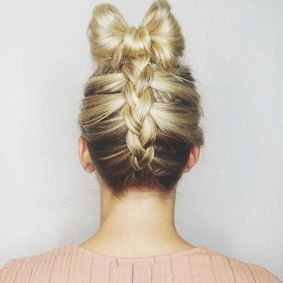 Upside Down French Braid Hairstyles For 2018 – New Hairstyles 2017 Regarding Most Recently Elegant Bow Braid Hairstyles (View 15 of 15)