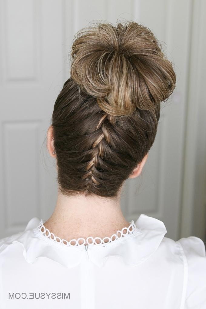 Upside Down French Braid High Bun   Missy Sue With Latest Upside Down French Braid Hairstyles (View 13 of 15)