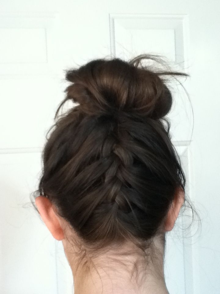 Upside Down French Braid Into Messy Bun   Hair   Pinterest   Messy Inside Most Popular Upside Down Braids Into Messy Bun (View 2 of 15)