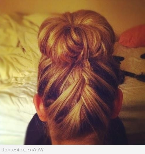 Upside Down French Braid With A Sock Bun Inside Recent Braid Into Sock Bun (View 9 of 15)