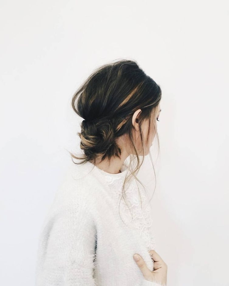 Warm, Hand Painted Highlights + Casual, Low Messy Bun (View 9 of 15)