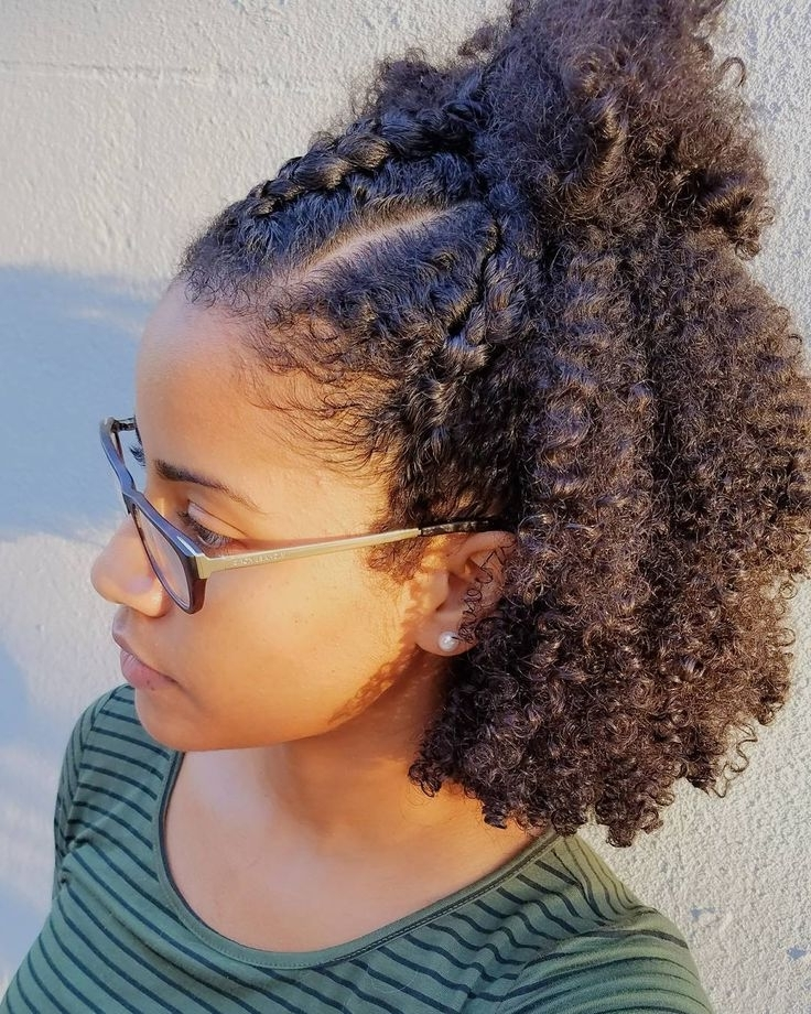 Wash And Go With Three Cornroll Braids In Front (View 14 of 15)