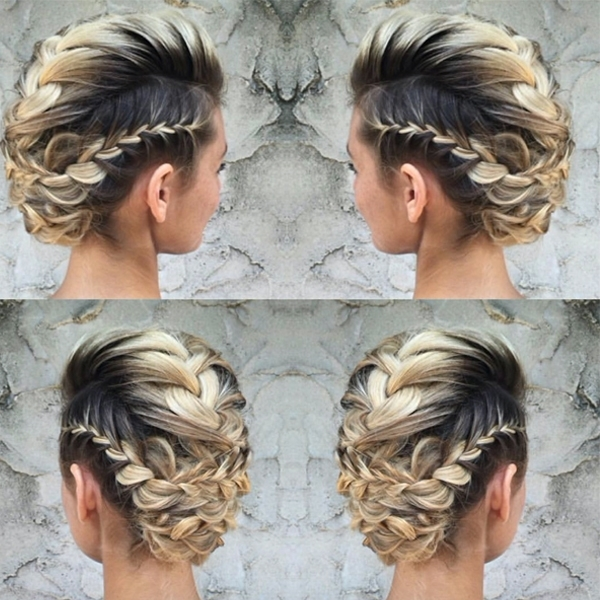 Watch: French Braid Bridal Mohawk With @lalasupdos – Behindthechair With Recent Mohawk French Braid Hairstyles (View 13 of 15)