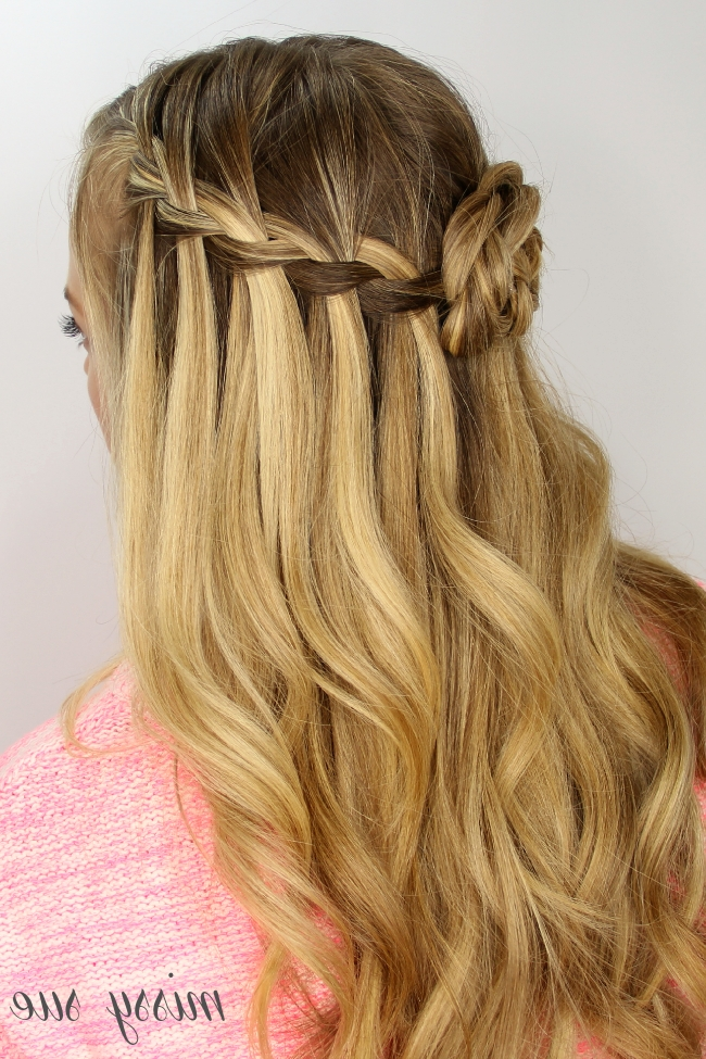 Waterfall Braid And Flower Bun Inside Most Current French Braids In Flower Buns (View 15 of 15)