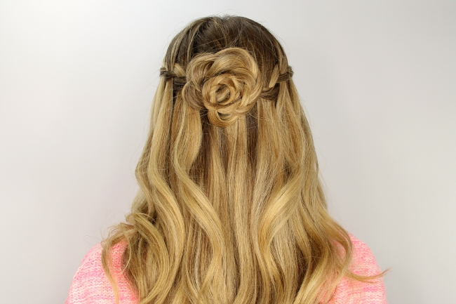 Waterfall Braid And Flower Bun Pertaining To Newest French Braids In Flower Buns (View 6 of 15)