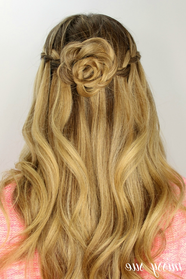 Waterfall Braid And Flower Bun Regarding Latest French Braids In Flower Buns (View 10 of 15)
