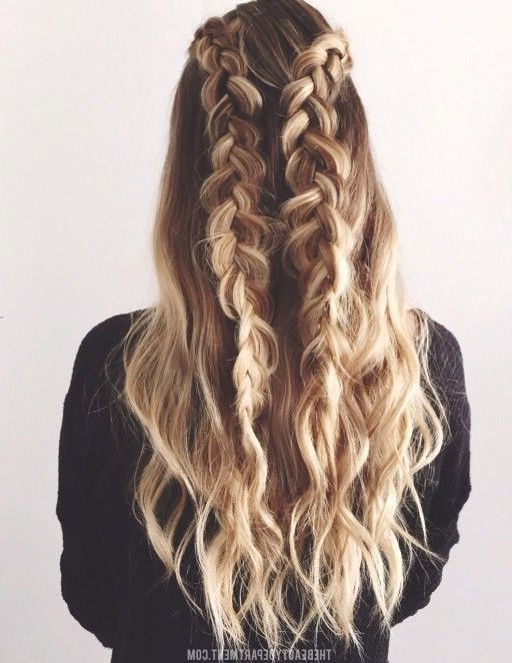 Waterfall Braid   Half Up Half Down   Braided Double   Curly Long Within Best And Newest Down Braided Hairstyles (View 10 of 15)