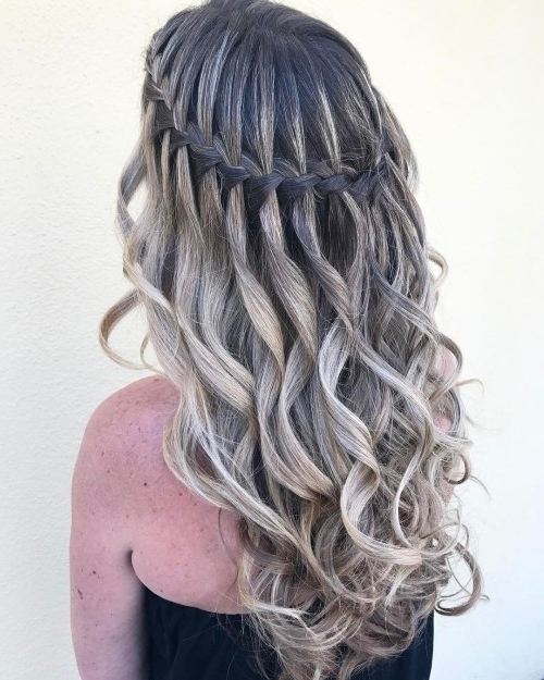 Waterfall Braid With Curls Inside Most Current Braid And Curls Hairstyles (View 8 of 15)